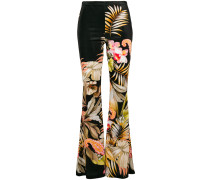 print flared trousers