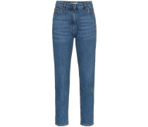 Cropped-Jeans mit bestickten Taschen