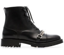 Chain Detail Lace-up Ankle Boots