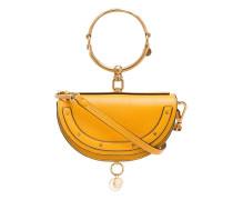 yellow nile minaudière leather bracelet bag