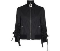 Square zip high neck bomber jacket