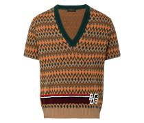 jacquard short sleeve sweater