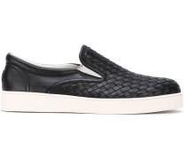 Slip-On-Sneakers aus gewebtem Leder