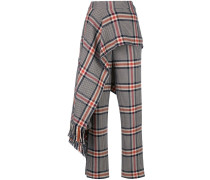 apron detail plaid trousers