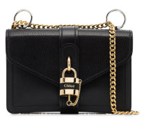 black aby chain leather shoulder bag