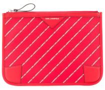 striped logo pouch