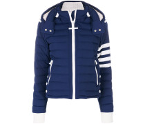 Downfill Ski Jacket With 4-Bar Stripe & Removable Hood In Navy Matte Nylon Poplin
