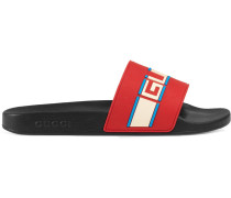 stripe rubber slide sandals