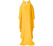 cold-shoulder long flared dress