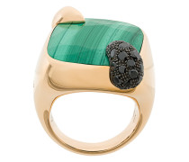 18kt rose gold Ritratto malachite and black diamond ring