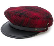 Karierte Mütze mit Lederdetails