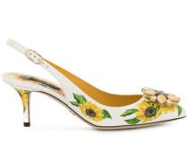 Slingback-Pumps mit Sonnenblumen-Print