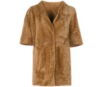 Mantel aus Lammleder und Lamafell
