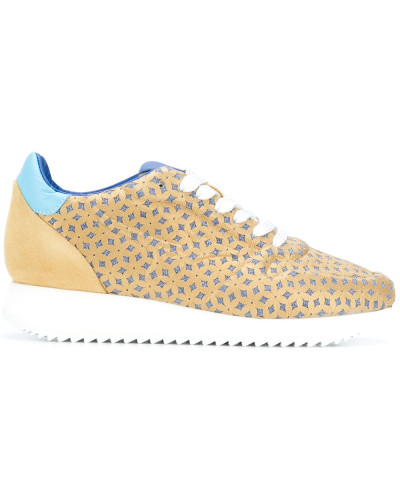 patterned lace-up sneakers