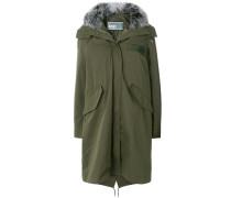 hooded long quilted parka