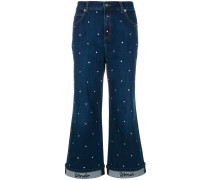 embellished cropped flared jeans