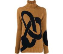 Intarsien-Pullover mit Kettendetail