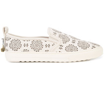 floral perforated slip-on sneakers