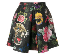 floral and leopard embroidered mini skirt