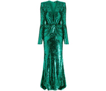 sequinned V-neck gown