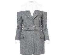 belted herringbone hybrid jacket