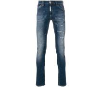 Skinny-Jeans mit Tigerstickerei
