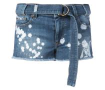 paint splatter denim shorts