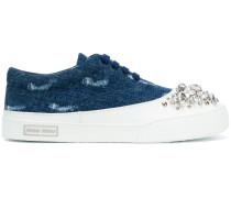 Embellished denim sneakers