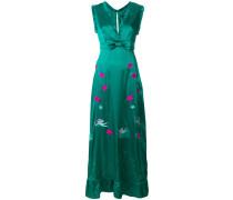 embroidered ruffle hem maxi dress