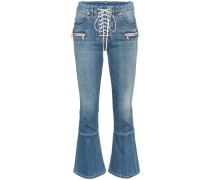 mid rise lace-up cropped kick flare jeans