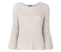 ribbed embellished sleeve sweater