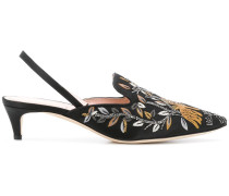 floral embroidered slingback mules