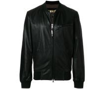 zipped up bomber jacket