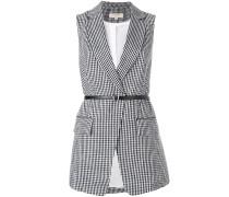 gingham belted vest