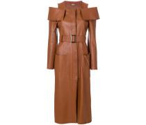 colour-shoulder belted coat