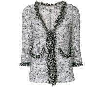 frayed trim tweed jacket