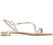 Flache Sandalen im Metallic-Look