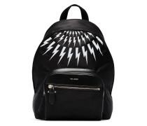 black and white thunderbolt nylon backpack