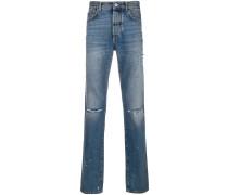 slim fit destroyed denim jeans