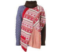 Patchwork-Pullover mit Rollkragen