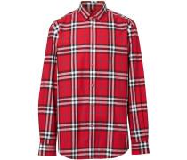 Popeline-Hemd mit Vintage-Check