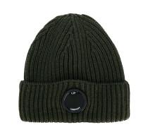 logo rib knit beanie
