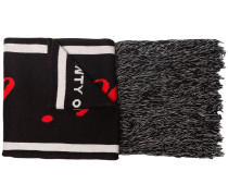 Black Typography Knit Scarf
