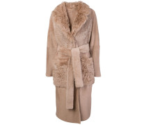 Shearling-Mantel in Trenchcoat-Optik