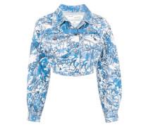 tapestry cropped denim jacket