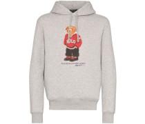Teddy print logo hoodie