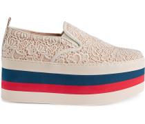 Flatform-Sneakers mit Spitzen-Overlay