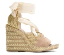 wraparound laced wedge sandals