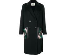 Mittellanger Mantel mit Ledertaschen