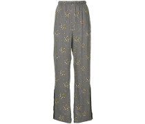 floral stars print trousers